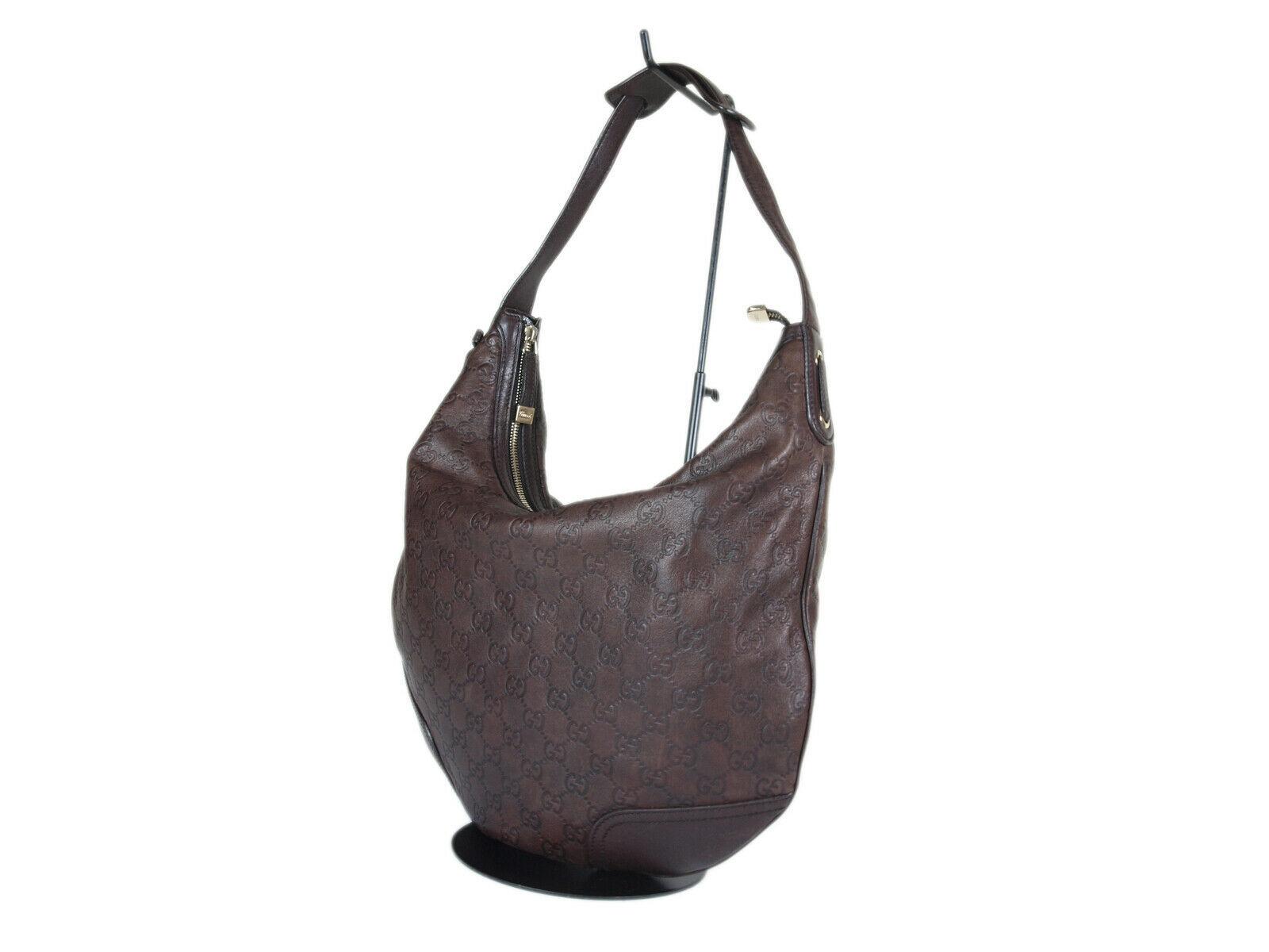 Auth GUCCI Guccissima Leather Dark Brown Shoulder Bag GH2155