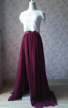 Burgundy Split Tulle Skirt Burgundy Wedding Maxi Tulle Skirt Bridesmaid Tutu  image 3