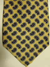 NEW $125 Robert Talbott Yellow With Black and Gray Paisley Handmade Silk... - $37.49