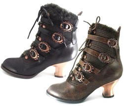 Hades NEPHELE Black Brown Steampunk Fur Ankle Boots Flame Buckles Copper... - $117.00