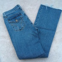 DKNY Bootcut Jeans Woman's Size 4 Flap Button Back Pockets Frayed Hem - $15.84