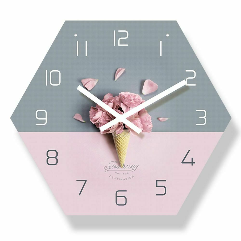 Primary image for Modern Wall Clock Rose Petals Ice Cream Colour Decor Reloj De Pared Con Estilo