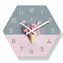Modern Wall Clock Rose Petals Ice Cream Colour Decor Reloj De Pared Con ... - $39.37