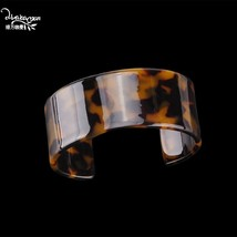Dvacaman Leopard Resin Bangle for Women Open Wide Charm Bracelet 2019 Ne... - $10.22