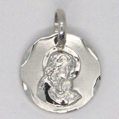 Anhänger Medaille Weißgold 18K, Vergine Maria und Jesus, Kreis, satin