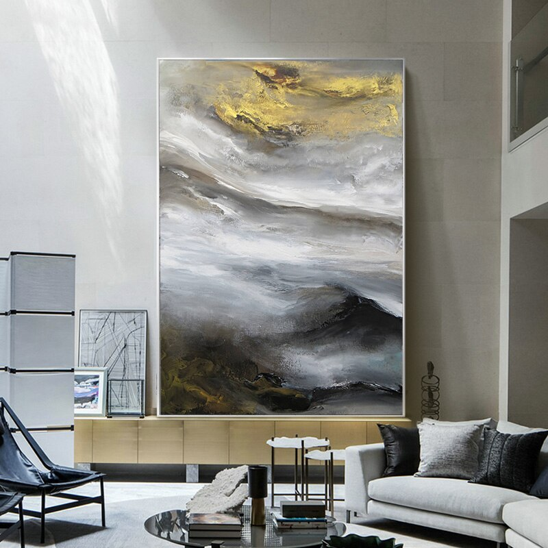 Contemporary abstract cloud mountain oil painting art1