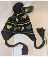 John Deere LP47334 One Size Black Stocking Cap With Green And Yellow Hearts - $6.95