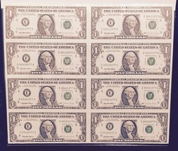 "1995  $1 BILL  ""UNCUT""  8 NOTE SHEET COLLECTOR SET IN DISPLAY CASE - $49.50"