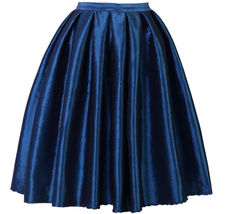 Women Pink Full Pleated Party Skirt A Line High Waist Knee Length Taffeta Skirt  image 4