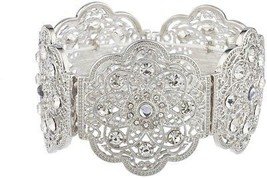 Lux Accessories Silvertone Floral Filigree Crystal Rhinestone Stretch Br... - $42.13