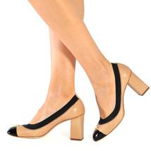 New TORY BURCH Size 8 JOLIE Logo 75mm Tan Cap Toe Heels Pumps Shoes - $189.00