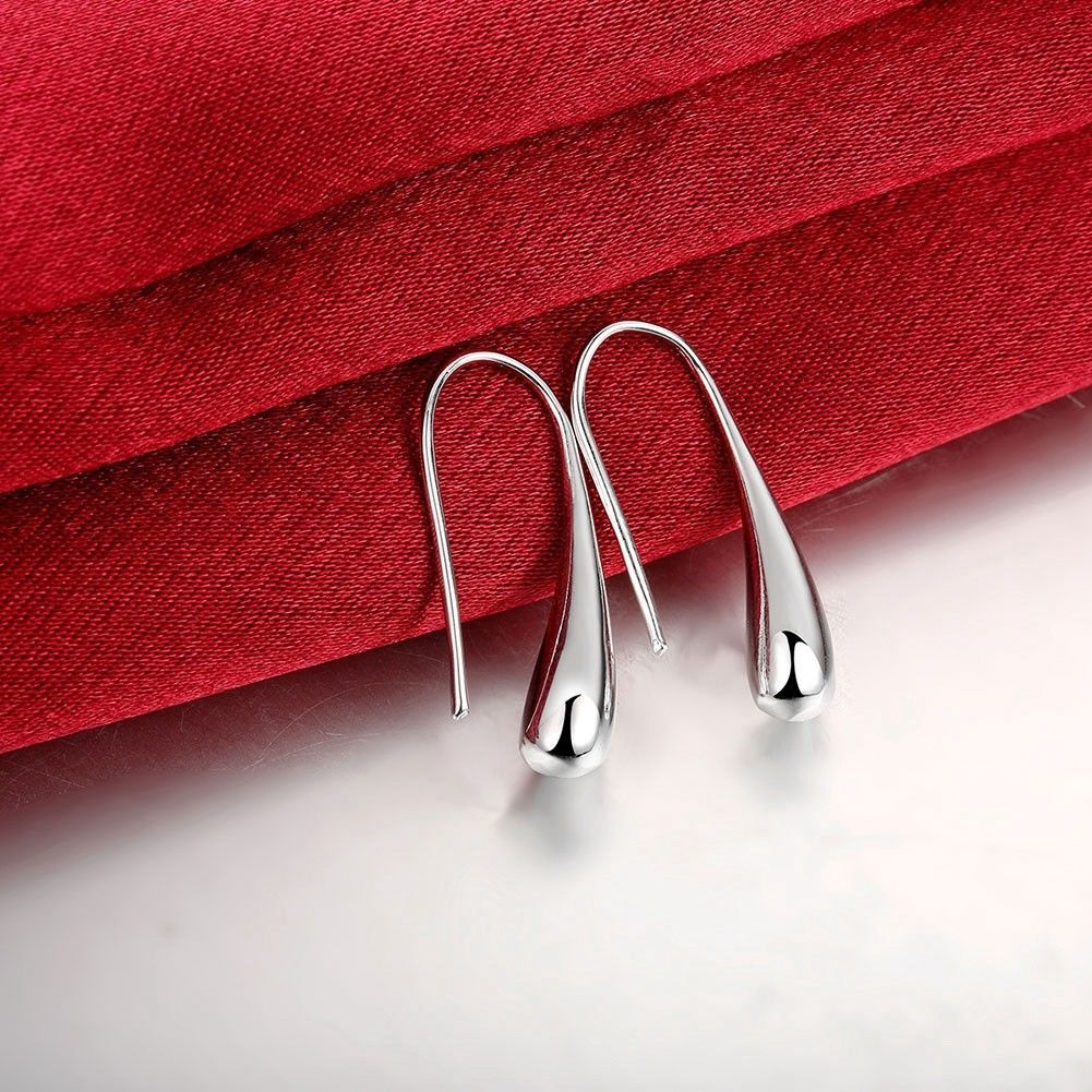 Silver Woven Teardrop Fashion Dangle Drop Earrings