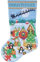 Design Works Penguin Party Christmas Holiday Cross Stitch Stocking Kit 5972 - $29.95