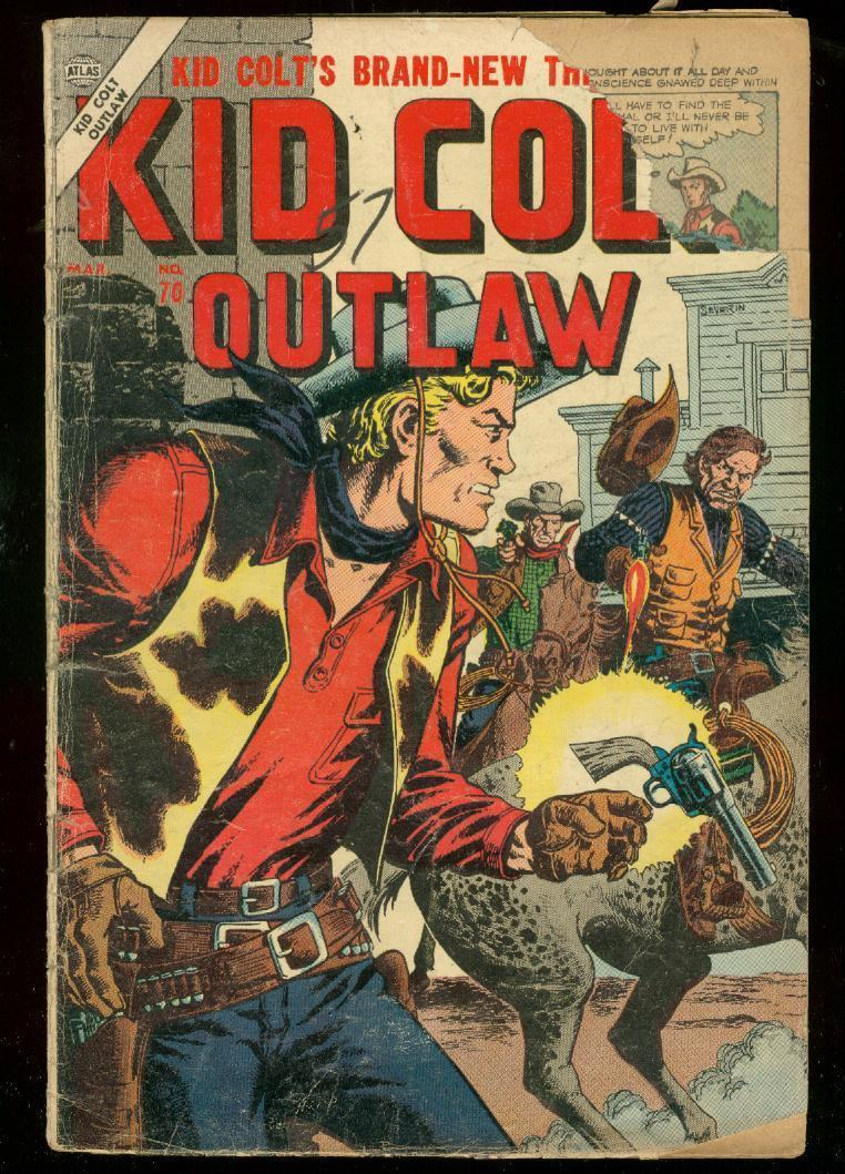 KID COLT OUTLAW #70 1957-ATLAS COMICS-WESTERN-SEVERIN FR