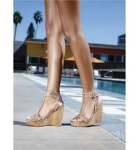 STUART WEITZMAN Annex Crackled Leather Cork Wedge Sandal  9.5 - $57.83