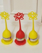 3 Tea Infuser Handle with Steel Ball Silicone Lid Strainer Red Yellow - $14.89