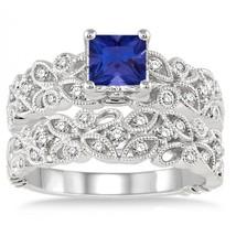 1.5 Carat Sapphire & Simulated Diamond Infinity Floral Antique Bridal set  - $120.00