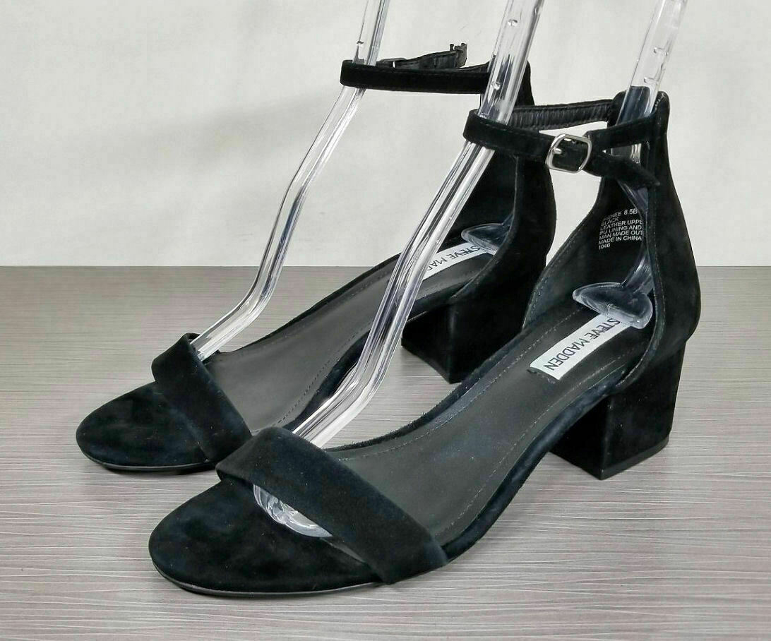 Primary image for Steve Madden Irenee Ankle Strap Sandal, Black Suede, Womens Various Sizes