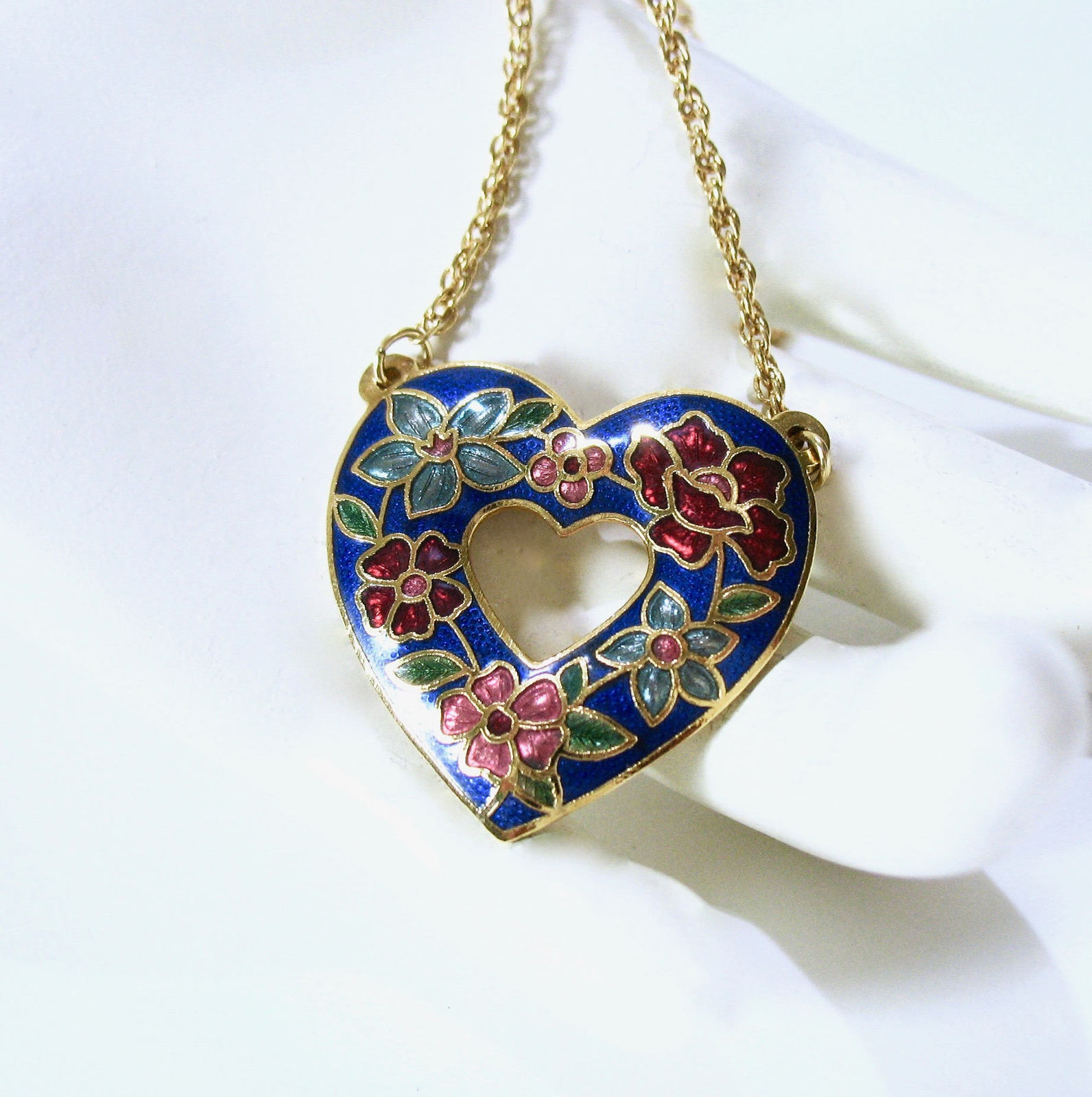 Cloisonne Heart Necklace, Open Heart, Red Floral, Blue Flowers, Asian Necklace,