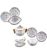 Dinner Set 1.378/6 Reutter Porcelain for 4 Gold Crosshatch Dollhouse Min... - $45.55