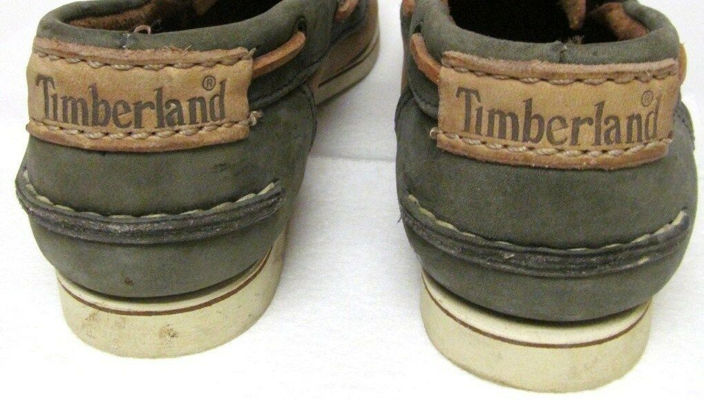 TIMBERLAND Boat Shoes Deck Dock Mocs Leather Lace-Up Tan Green Women's 7.5 M