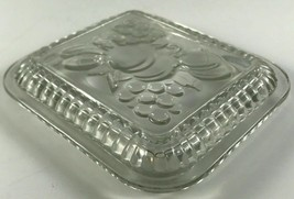 """Federal Glass LID ONLY Embossed Fruit Clear Refrigerator Dish Lid 5"""" X 4.5"""" - $12.86"""