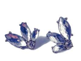 Vintage Silver Tone Faceted Marquise Cut Crystal Clear Rhinestone Earrin... - $22.95