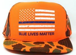 Blue Lives Matter US American Flag Police Orange Camo Mesh Trucker Hat Cap - $10.39