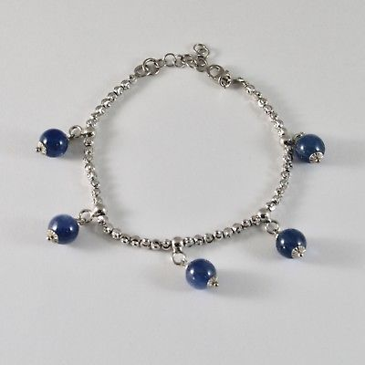 SILVER 925 BRACELET RHODIUM WITH BEADS FACETED AND KYANITE BLUE 19 CM
