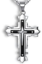 Ostan Men's Stainless Steel Cross Necklace Fashion Vintage Dark Knight P... - £23.64 GBP