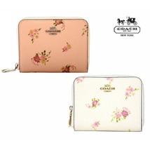 NWT COACH Small Zip Zipper Around Wallet Billfold Card Case Daisy Flower Leather - $95.04+