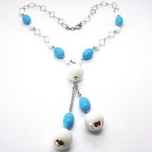 Collier Argent 925, Sphères Agate Blanc à Facettes, Turquoise Ovale, Pendentif image 2