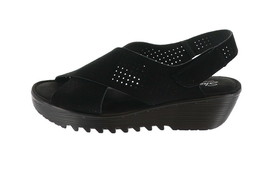 Skechers Perforated Suede Slingback Demi-Wedges Black 7M NEW A349850 - $53.44