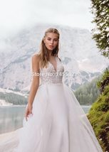 Deep Beaded V-Neck  Beaded Appliques Mermaid Wedding Gown with Detachable Train image 3
