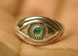 Celtic Absorb Evil Eye convert Emerald Wealth positive ring Sterling Sil... - $34.40