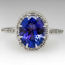 Classic Tanzanite and Diamond 9ct Cluster Ring 14k Yellow Gold Over 925 ... - $75.05