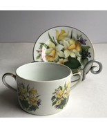 Hand Painted Wildflowers Tea Cup Saucer Fine China Brother Harold Andrew... - $31.97