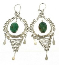 "Vintage Silver Wire Green Turquoise Drop Dangle Earrings 3"" Nice Size Mi... - $36.00"
