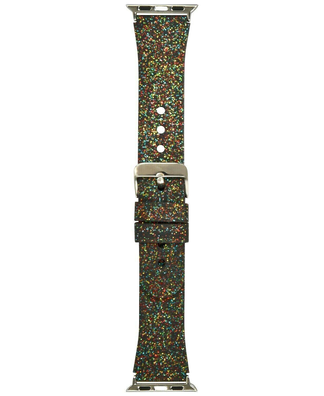 I.N.C. Women's Black Rainbow Glitter Silicone 38mm Apple Watch Band Strap