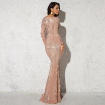 Elegant O Neck Long Sleeve Sparkle Sequin Floor Length Stretchy Bodycon Party Dr image 2