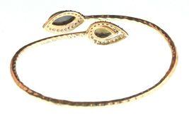 New Blossom Box Gold Labradorite & Smokey Topaz and CZ Bangle Bracelet NWT image 3