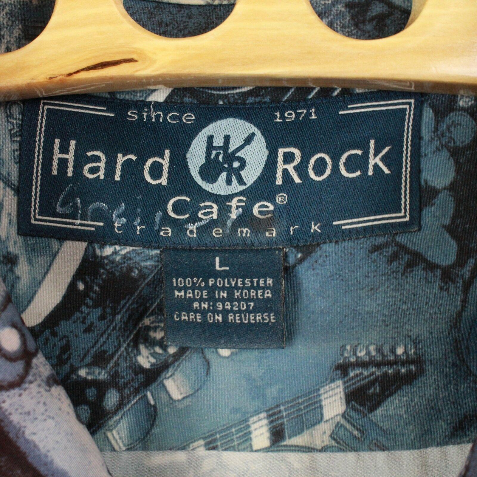 Vintage Hard Rock Cafe L Hombre los Ángeles Botón Frontal Camisa Guitarra Todo