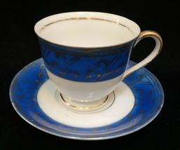 Miniature Tea Cup Saucer Espresso Blue Gold White Porcelain Vtg Occupied... - $9.89