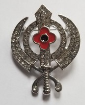 Stunning Diamonte Silver Plated SIKH Khanda Poppy Rememberance Day Brooch Pin - $12.65