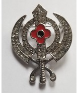 Stunning Diamonte Silver Plated SIKH Khanda Poppy Rememberance Day Brooc... - $12.65
