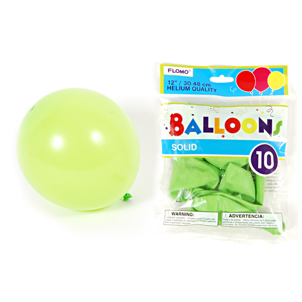 12 Inch Solid Color Lime Green Balloons/Case of 360