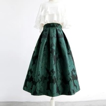 Women Dark Green Pleated Midi Skirt Outfit Pleated Party Skirt Plus Size image 1