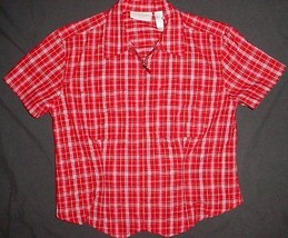 LIZ CLAIBORNE  red Plaid Cotton Short Sleeve FULL ZIP Shirt sz P    NWOT - $4.99