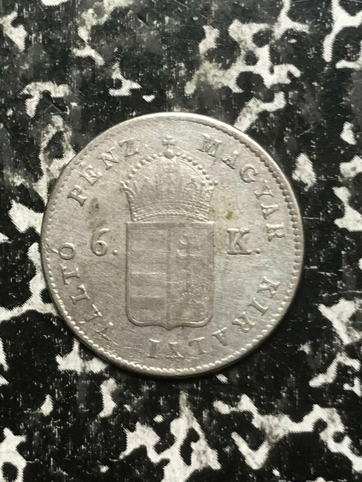 1849-nb Ungarn 6 Krajczar Menge #L2405 Silber