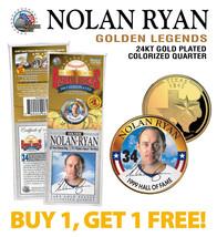 NOLAN RYAN Golden Legends 24K Gold Plated TEXAS State Quarter US Coin - ... - $15.79